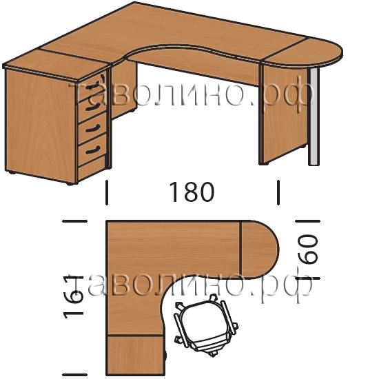 Имаго (imago) большой угловой рабочий стол с приставкой 180х.