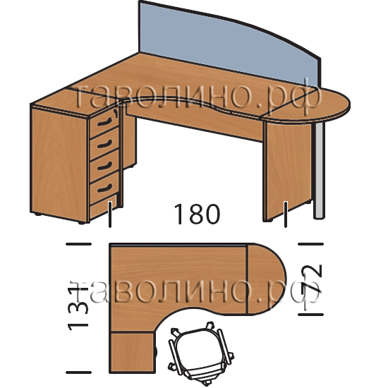 Имаго (imago) угловое рабочее место для офиса с приставкой и.